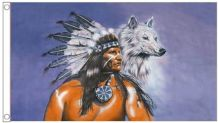 Native American & Wolf 5'x3' (150cm x 90cm) Flag